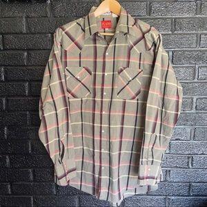 Vintage Mens Plains Western Wear Pearl Snap Shirt